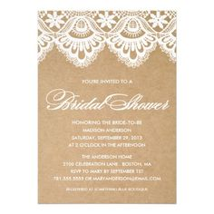 RUSTIC LACE | BRIDAL SHOWER INVITATION #wedding #zazzle #fineanddandypaperie