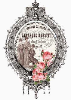 ALECRIM: postal etiqueta mujeres lamarque moda ovalo rosas Vintage Tags, Shabby Vintage, Vintage Labels, Etiquette Vintage, French Colors, Soap Labels, Freebies, Vintage Artwork, Decoupage Paper