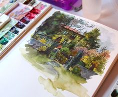 My sketch from earlier. Went out with and painted some things. I found this house months ago and wanted to attempt painting it. I still need practice with this style of art but I'm working on it. by audraauclair Gcse Art Sketchbook, Watercolor Sketchbook, Watercolor Illustration, Watercolor Paintings, Sketchbooks, Watercolour, Fashion Sketchbook, Art Sketches, Art Drawings