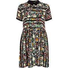 Green striped floral print smock dress $40.00