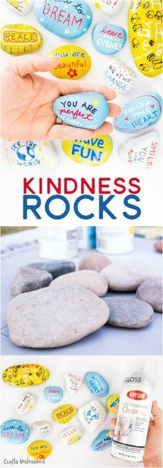 Fun crafts With Rocks - Kindness Rocks Project with Kids Fun Ideas Consumer Crafts Summer Crafts, Diy And Crafts, Crafts For Kids, Arts And Crafts, Pebble Painting, Pebble Art, Stone Painting, Diy Painting, Painting Stencils