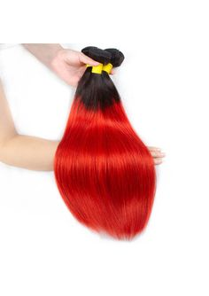 HairYouGo Hair Pre-Colored Ombre Brazilian Straight hair bundles Wave T1B Red Hair Weave Human Hair Extension 12-24 Inch
