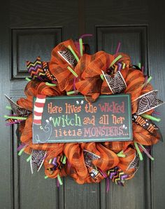 Halloween Mesh Wreath The Witch is In Wreath