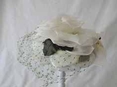 """Vintage Organdy Flower Hat w Paris Label - """"Gilbert Orcel Boutique, Paris""""  1950-60"""