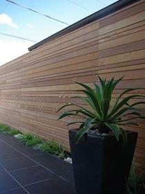 different size timber Fence Screening, Timber Fencing, Boundary Walls, Modern Fence, Garden Fencing, Fence Design, Garden Inspiration, Backyard Landscaping, Landscape Design