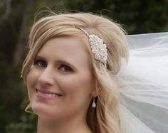 Les mariages morceau de cheveux de mariée bandeau par BrassLotus