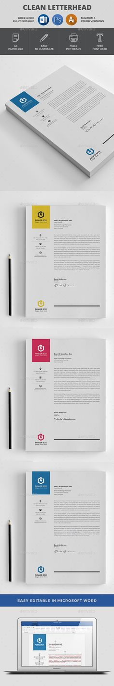 #Letterhead - #Stationery Print Templates Download here: https://graphicriver.net/item/letterhead/18676183?ref=alena994