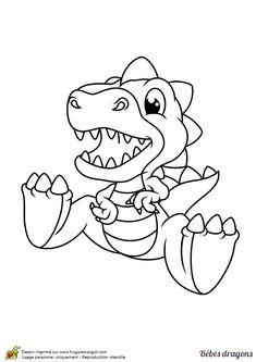 Tu peux dessiner un gros steak pour ce petit dragon qui a l'air d'avoir faim, à colorier
