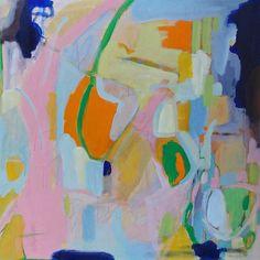 Abstract acrylic painting pamela munger 24x24 pink green orange