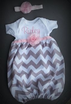 Baby layette gown, diva sack, coming home outfit, chiffon rose, gray chevron. newborn baby girl