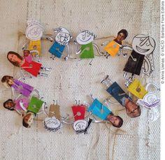 """Guirnalda de personajes a partir del libro """"VACÍO"""". Construye la tuya con los personajes del libro y agrégale fotos de tu familia y amigos para estar juntos en estas fechas. Si quieres que te mande la Plantilla de Personajes Recortables para hacer tu propia guirnalda, mándame un mail solicitándola a: cursosytalleres@annallenas.com"""