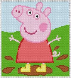 cross stitch design Peppa Pig jumping in muddy puddles