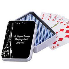 The Pictures from Paris Personalized Playing Cards feature an elegant Eiffel Tower design. Add your text to this Personalized Paris Playing Card Case.