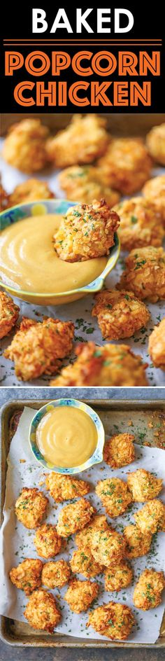 Baked Popcorn Chicken - A healthier alternative to the deep-fried version with t. CLICK Image for full details Baked Popcorn Chicken - A healthier alternative to the deep-fried version with the best crispy potato chip c. I Love Food, Good Food, Yummy Food, Cooking Recipes, Healthy Recipes, Damn Delicious Recipes, Diet Recipes, Bread Recipes, Easy Recipes