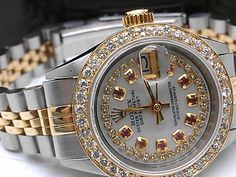 AUTHENTIC ROLEX DATEJUST 14K/SS UPGRADED WITH DIAMONDS!!!