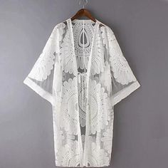 Pareo Beach Cover Up Floral Embroidery 2017 Bikini Swimsuit Cover Up Robe De Plage Beach Cardigan Swimwear Bathing Suit Cover Up-Women's Swimwear-Enso Store-White-long105cm-Enso Store