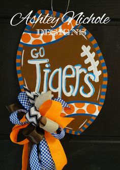 Funky Football Door Hanger Door Decoration by DesignsAshleyNichole Wood Front Doors, Front Door Decor, Burlap Crafts, Wooden Crafts, Burlap Art, Football Crafts, Football Signs, Football Mums, Football Decor