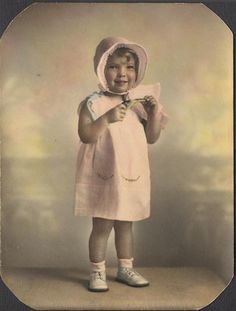 Vintage hand-tinted toddler photo. Darling!!!