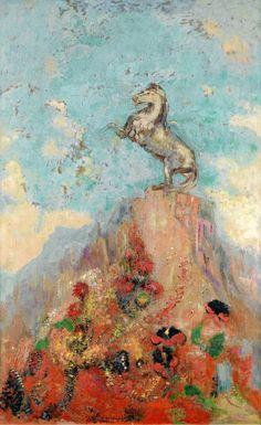 Odilon Redon - Pegasus Upon his Rock