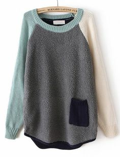 Grey Contrast Long Sleeve Pocket Loose Sweater pictures
