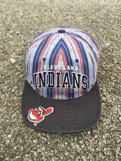 CLEVELAND INDIANS Snapback Cap Baseball Team Mlb Vintage Stripes Cap  Trucker Starter Apparel Adjustable Size 1f0beae38176