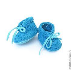 Для новорожденных, ручной работы. Ярмарка Мастеров - ручная работа пинетки для мальчика, летние пинетки, бирюзовый, голубой. Handmade.