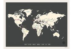Travel Map, World on OneKingsLane.com - Unfortunately this specific one is sold out, but I would love one like it!