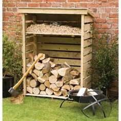 Small Log Store - Pressure Treated Wood Firewood Shed, Firewood Storage, Shed Storage, Storage Rack, Firewood Holder, Storage Boxes, Garden Buildings, Garden Structures, Log Shed