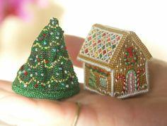 Tiny cross-stitch ornament_ Jennifer Jones's Gingerbread Cottage & Cressida Chrimble's Christmas Tree_ £12 each