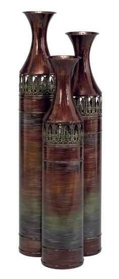 Aspire Home Accents 63575 Tall Slender Floor Vases (Set of 3) Reddish-Brown / Green Home Decor Accents Vases
