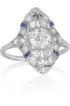 Fred Leighton Art Deco platinum, diamond and sapphire ring | NET-A-PORTER