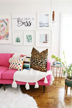 DIY Home Decor Ideas : Illustration Description The Perfect Pink Sofa. This custom made pink sofa by Joybird is a stunning color. Joybird offer many different colors and different furniture pieces. My Living Room, Home And Living, Living Spaces, Cafe Interior, Interior Design, Boat Interior, Interior Ideas, Bright Decor, Colorful Decor