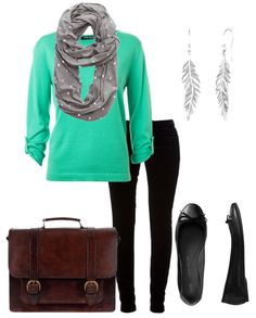 The mint and gray work well together. I would take out the feather earrings.