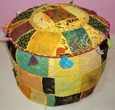 HANDMADE ROUND SEATING POUF COVER FOOT STOOL BOHEMIAN PATCHWORK OTTOMAN UNFILLED #Handmade