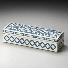 Butler Amanda Bone Inlay Storage Box - Blue