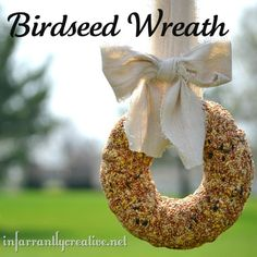 birdseed wreath      4 cups of wild bird seed  1/2 cup of warm water  1 envelope of Knox gelatin  3/4 a cup of flour  bundt pan  nonstick spray  3 tbl. light corn syrup