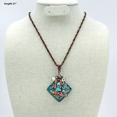 Copper Horse Shoe Boot Charm Montana West TURQUOISE BEADS AND COPPER CHAIN