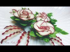 Red Radish & Cucumber Designing Garnish - How To Make Radish Rose Flower - YouTube