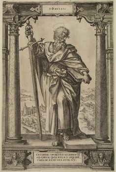 St. Paul here is sporting a ginormous two handed sword. He'd better know how to use it since he's not very pleasant as a person, IMHO. Hieronymus Wierix (1553-1619) The Apostle Saint Paul. This engraving is after Maarten de Vos and currently held in the Museum Boijmans van Beuningen