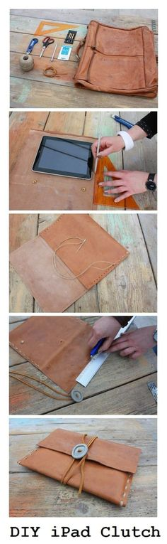 DIY iPAD Clutch from an old leather satchel Easy Sewing Projects, Sewing Projects For Beginners, Diy Projects, Crea Cuir, Diy Pochette, Bag Women, Diy Sac, Diy Clutch, Leather Projects