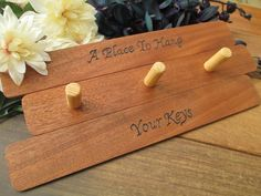Make Memento Engraved Wooden Key Holder by MakeMemento on Etsy, £15.99