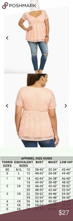 NWT TORRID PEACH BABYDOLL You will love your figure like a love song, baby. Girly and flirty peach colored lace details this babydoll design, the cinch front bodice lending busty appeal to the flared, cap sleeved style. torrid Tops
