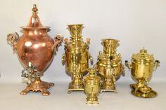 COLLECTION OF (5) SAMOVARS including a 19th C. circa
