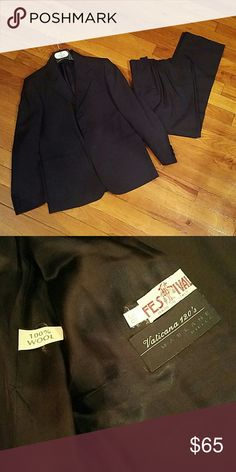 Boys Wool Suit Set In great condition no stains or rips. 100% wool suit. Jacket has three buttons in front and 3 buttons on both sleeves. Pants are pleated and have one button on the back pocket. Vaticana 120's Marlane Biella Matching Sets