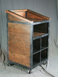 Industrial Host Stand, Lectern. Restaurant & Hotel Furniture. Public Speaker Podium. Handmade and Customizable. Reclaimed Barnwood and Steel