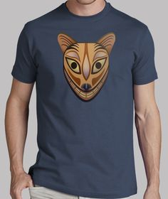 Camiseta hombre con mascara tribal felina