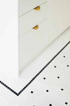 Renovation old house Paris - Heju studio - Bathroom 01 1920s Bathroom, Bathroom Interior, Bathrooms, White Mosaic Bathroom, Deco Paris, Blog Deco, Mosaic Tiles, Cement Tiles, Tiling