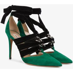 Valentino Valentino Garavani contrast pointed pumps ($850) ❤ liked on Polyvore featuring shoes, pumps, self tying shoes, valentino pumps, pointy shoes, pointy-toe pumps and valentino shoes