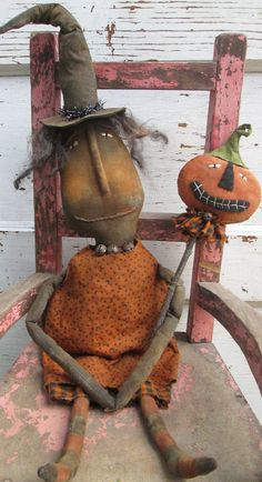 Primitive Grungy Folk Art~Witch Hilda and Her Pumpkin Wand Doll Set~Hafair Team
