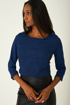 226350c5c7261 Blue Top with Embroidery Detail